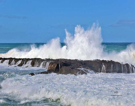 hawaii metal print and hawaii surf art image Wave Splash Sharks Cove
