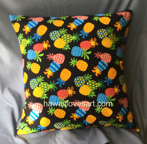Pineapples Pillow cover 18x18 small black background