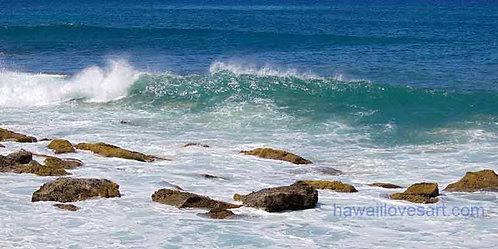 hawaii surf art and hawaii panoramas photo Makaha rocks