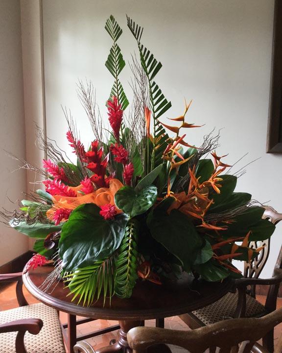 tropical flowers arrangement at the Honolulu YWCA