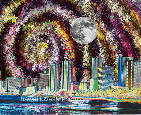 Waikiki Moon digital design