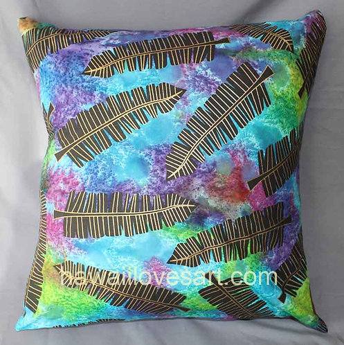 Pillow cover 18x18 Blue batik black leaves gold metallic ink