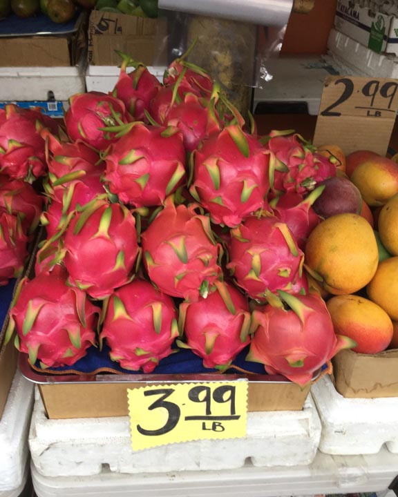 dragon fruit and mangoes in Honolulu