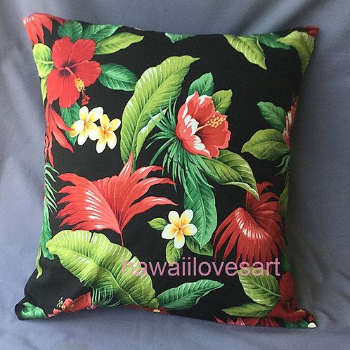 Tropical Flowers pillow cover,  Hawaiian pillow 18x18