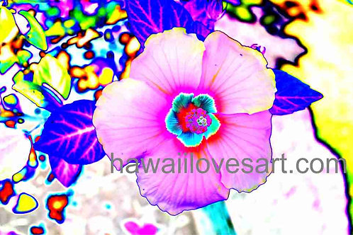 digital design wild hibiscus pink 14x21