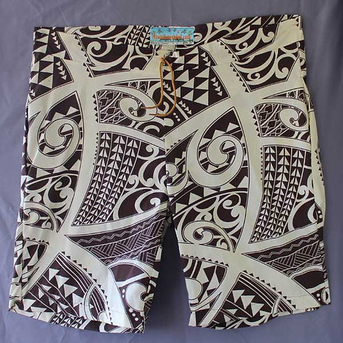 custom board shorts with Polynesian style tattoo designs in brown and white