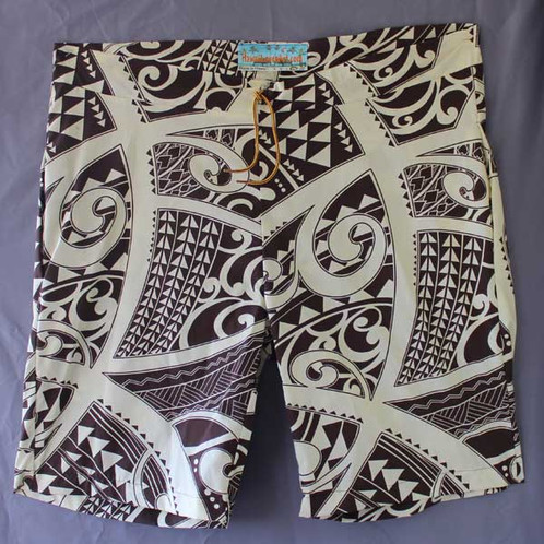 Polynesian Tattoo design Board Shorts from Hawaii in Dark Brown