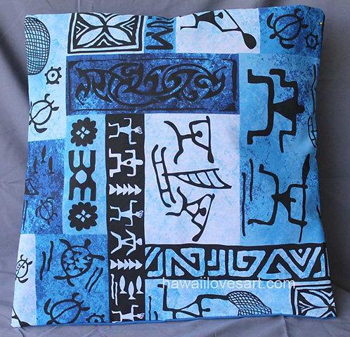 Pillow cover 18x18 blue tapa Hawaii petroglglyph