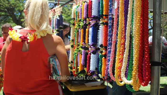 leis on display at lei day