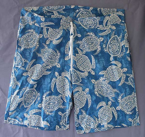 custom board shorts with Hawaii sea turtles Honu in blue and white