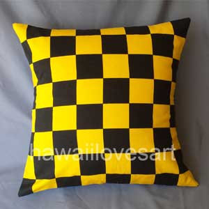 Black and Yellow checkers pillow cover with Japanese fabric 18x18