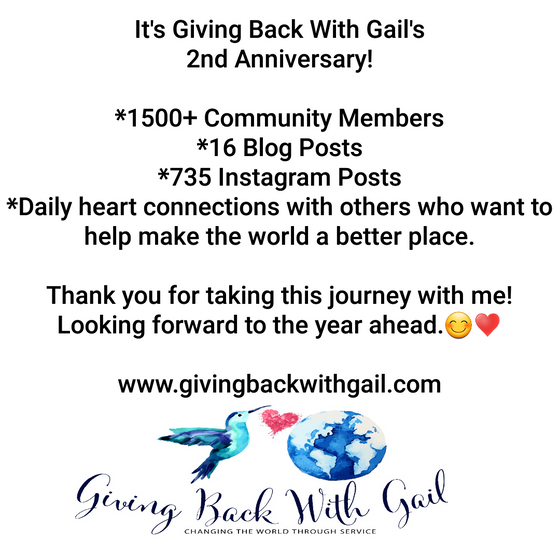 Anniversary Announcement: Giving Back With Gail Turns 2!
