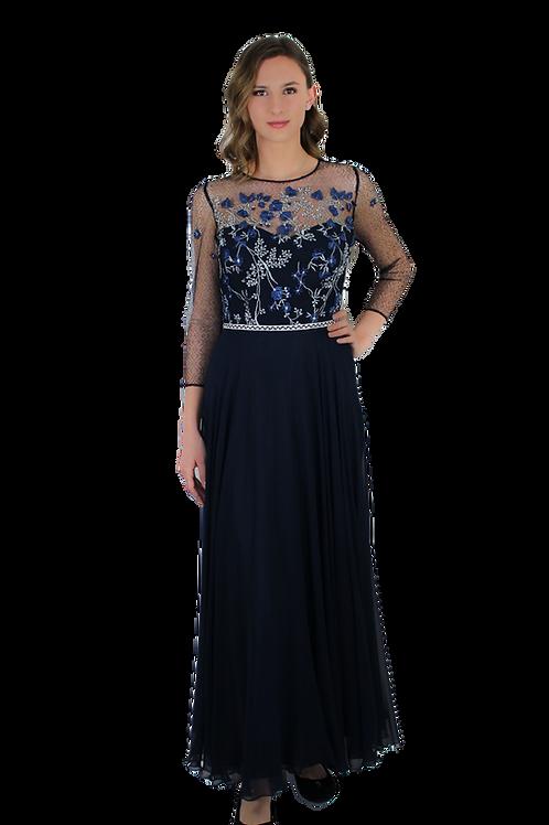 Дълга тъмно синя рокля от коприна