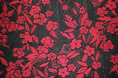 Черна Органза на червени цветя