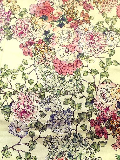 Бледо-жълта Плътна Коприна на Цветя
