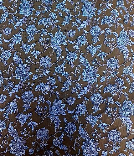 Жакард в черно на сини цветя ARMANI