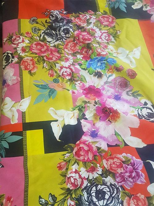Ластична Коприна Цветя Versace