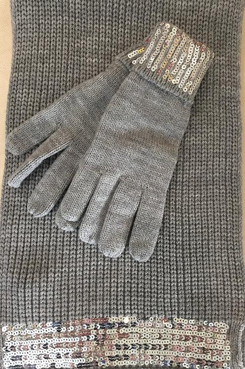 Сив Шал и ръкавици с паиети Marina D'Este