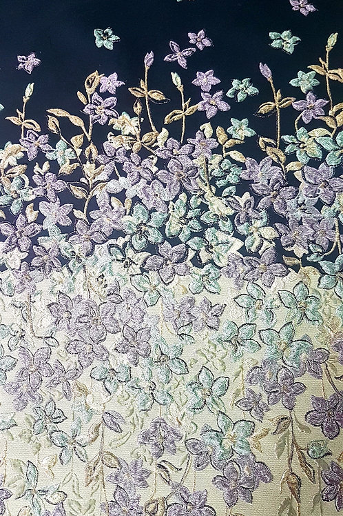 Плътна коприна с 3D цветя Giambattista Valli
