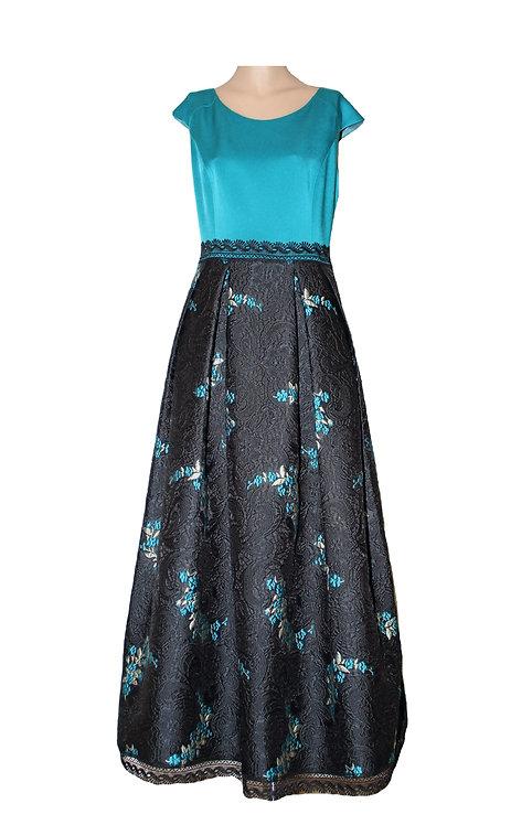 Черна Дълга  рокля от тафта