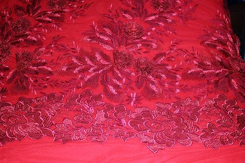 Червена Дантела 3D на тюлена основа