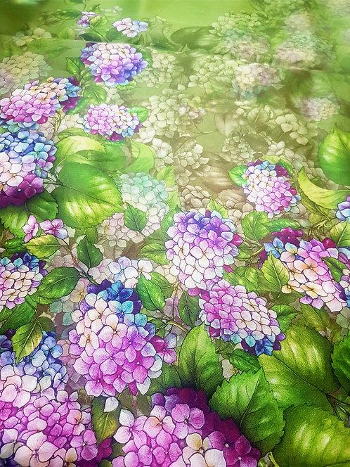 Органза зелена с бордюр цветя