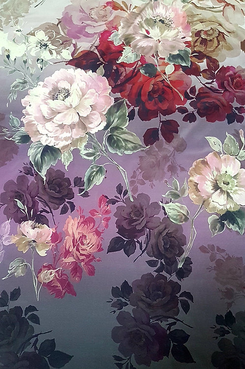 Лилава Коприна с бордюр Цветя