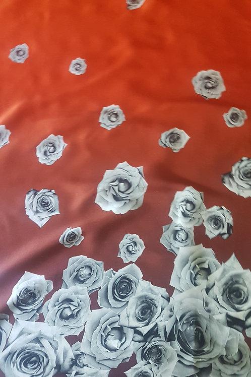 Коприна сатен с бордюр цветя