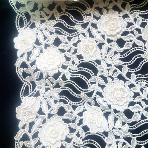 Бяла Дантела макреме 3D цветя