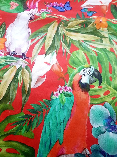 Сатениран памук  с папагали Dolce&Gabbana