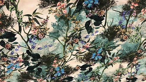 Коприна Цветя в зелени нюанси Alberta Ferretti