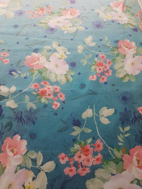 Фина Вълна Петролен цвят с  преливане на цветя
