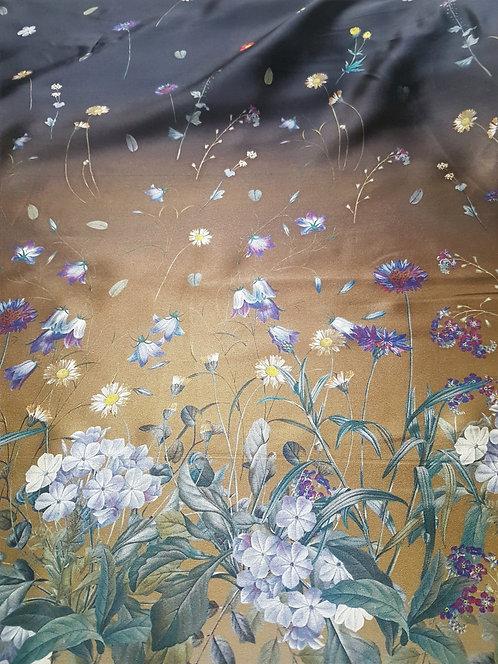 Сатен Коприна с бордюр цветя Alberta Ferretti