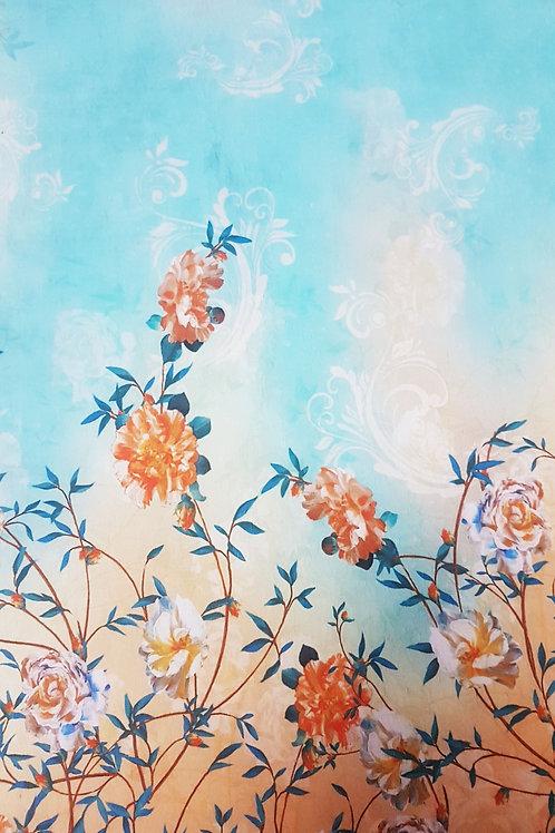 Плътен памук с бордюр цветя Dolce&Gabbana