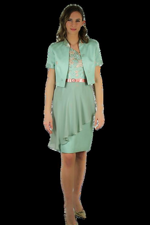 Бледо зелена рокля с едно рамо