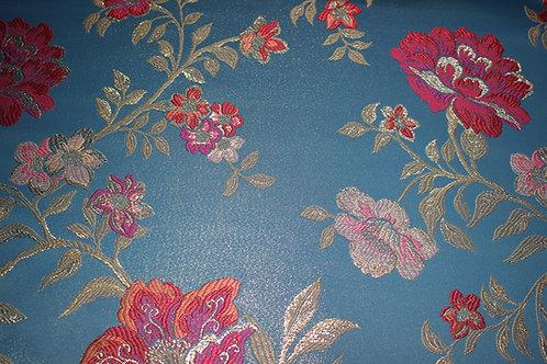 Жакард в Светло-синя гама с ламе на Цветя