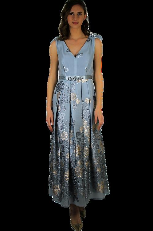 Дълга рокля от органза в светло син цвят