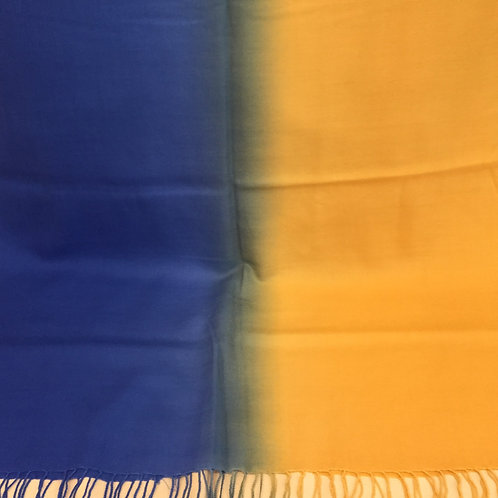 Синьо/Жълто Шал  Кашмир/Вълна  преливащи Coveri Collection