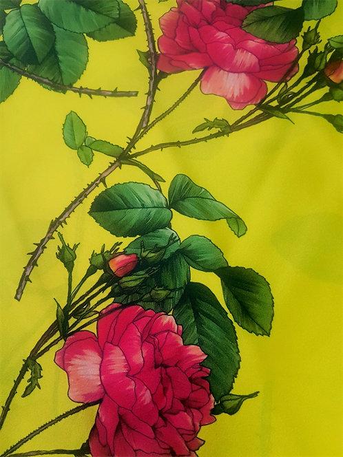 Ластична Коприна Жълта Цветя Dolce & Gabbana
