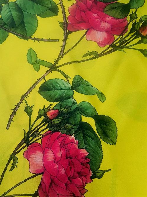 Ластична Коприна Жълта рози Dolce & Gabbana