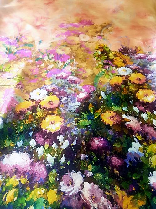 Органза охра с бордюр цветя Dolce&Gabbana