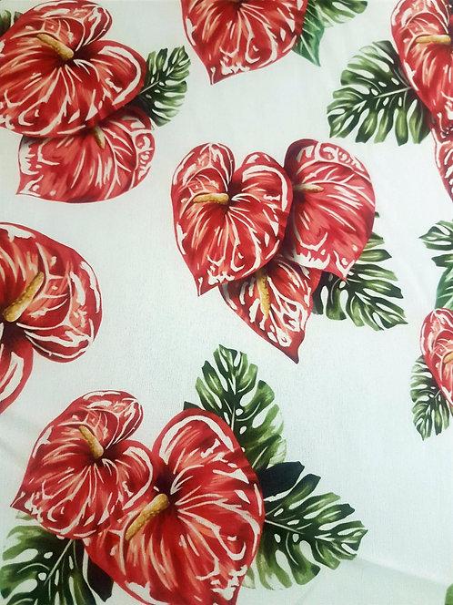 Бял Шифон на Червени Цветя Dolce & Gabbana