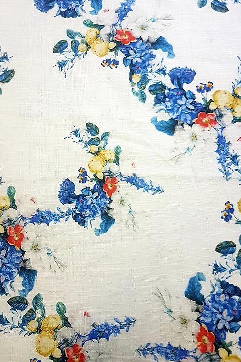 Лен бял на сини цветя Dolce&Gabbana