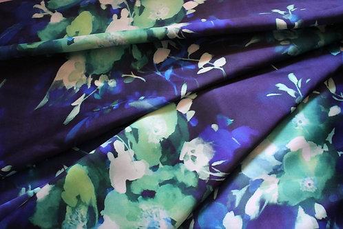 Синя тафта  санжен на цветя
