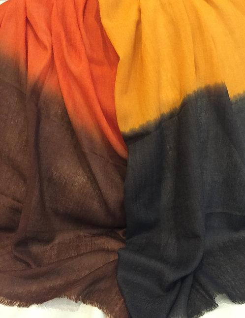 Преливащ Шал от Кашмир Кафяво/Оранж/Жълто/Кафяво