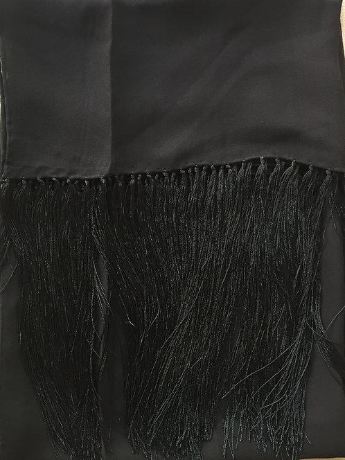 Черен Шал Шифон  Коприна с ресни Renato Balestra