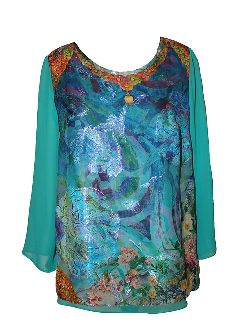 Копринена блуза с лурекс