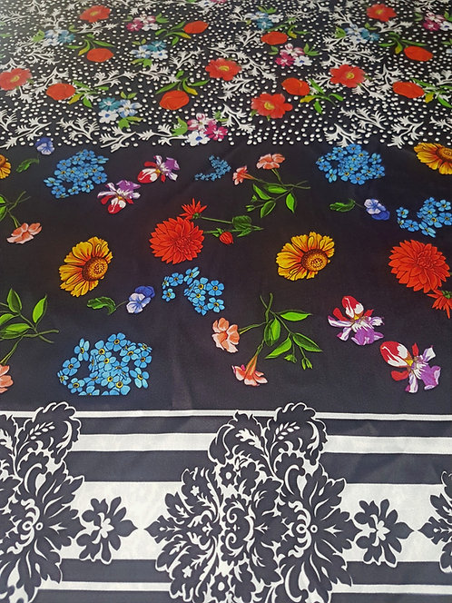 Чернобяла Коприна на Цветя Dolce & Gabbana