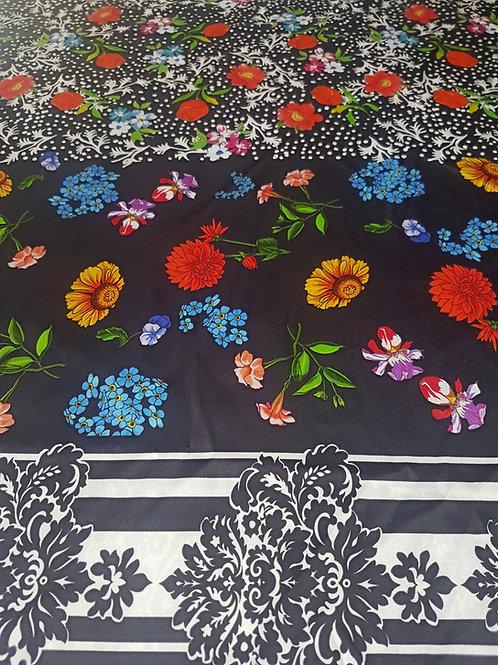 Черна сатен Коприна на Цветя Dolce & Gabbana