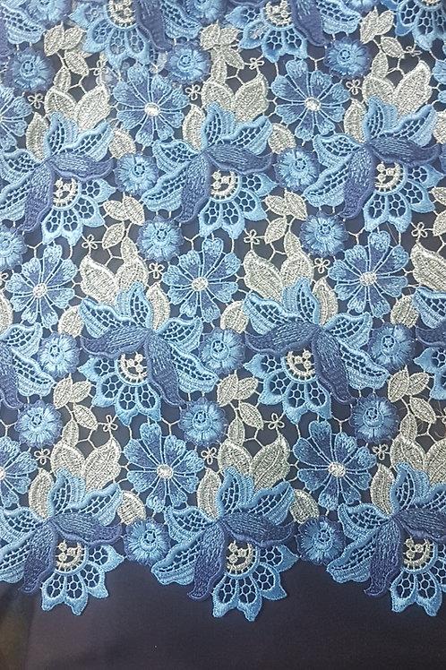 Дантела  в синьо и сребро Haute Couture